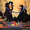 limikkin: Image from the Secret of NIMH of a pair of crows tangled up in colorful yarn (Partners in Twine)