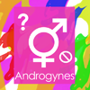 androgynes: A combination male/female symbol, the 'no' symbol and a question mark, on a rainbow background. (Androgynes.)