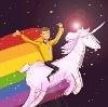 kerrypolka: Ensign Chekhov riding a rainbow unicorn (st: unicorn)