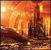 darchildre: the citadel on gallifrey, bathed in orange light (gallifrey that was)