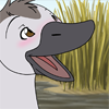 avia: A cute cygnet with a happy and blushing expression, drawn in a dramatic cartoon style. (happy cygnet)