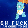 jebbypal: picture of carebear hanging from balloon saying hes going to die (care gonna die)