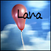 theseoldwings: a red balloon floating up in a partly cloudy blue sky with Lana written in a hand written font on and near the balloon (Lana: floating red balloon)
