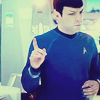 "amadi: Commander Spock (portrayed by actor Zachary Quinto) makes a ""just one second"" gesture with one finger (Wait a Second (Spock))"
