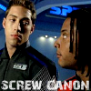 lilyleia78: Sky and Jack looking at each other captioned screw canon (SPD: Screw canon)
