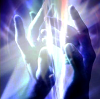 darkemeralds: Healing hands with white, blue and violet rays of light (Hands of Light)