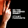 "ruuger: A hand making a rude sign with the text ""DO the deformed rabbit.  It's my favourite."" (Discworld - deformed rabbit)"