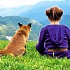 sheistheweather: A fox, sitting next to a girl, on a hilltop. (Fox-And-Girl, Tomodachi)