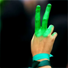 """veleda_k: Image from the protests in Iran: hand making the """"V"""" sign painted green (Iran)"""