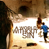 "analoguechild: River watching children run off in the distance on Haven with text that reads ""A world without sin"" (World without sin)"