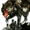 outlineofash: A huge wolf with a bloody muzzle walks over a city. Artwork by Sam Weber. (Artwork - City Werewolf)