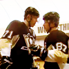 thefourthvine: Geno Malkin and Sidney Crosby wish each other good luck. (Hockey Geno/Sid)