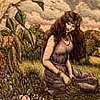 lizcommotion: historic-style drawing of a woman with long hair dressed in purple robes sitting in a field (pagan woman)