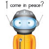 "thefourthvine: An alien with the text ""I come in peace."" (I come in peace)"