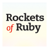 "rocketsofruby: Rockets of Ruby"" in black and red on twilight gradient (Icon2)"