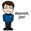 "nikkiscarlet: Adorable cartoon representation of McCoy, saying ""Dammit, Jim!"" ([Star Trek Reboot] Dammit!)"