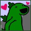 kellzilla: cute drawn godzilla with hearts near his head ([godzilla] cutezilla)