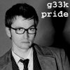"randomling: The Tenth Doctor (of Doctor Who) with one eyebrow raised, in black and white. The words ""g33k pride"" are displayed. (geek)"
