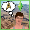 helens78: A person from the Sims standing in front of Mt. St. Helens, thinking of the Star Trek logo. (sims: helens)