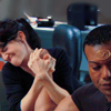 sixbeforelunch: vala and teal'c arm wrestling, no text (sg1 - teal'c/vala: *arm wrestling*)