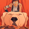 talibusorabat: A young cartoon woman and her polar bear dog peer curiously (Avatar: Korra Bwuh?)