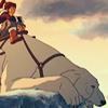 talibusorabat: A young cartoon woman and polar bear dog sit pensively (Avatar: Korra Naga thinking)