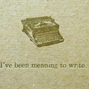 "the_coffee_shop: Old, thick book with a caption that says ""I've been meaning to write"" in brown letters. (joelle)"