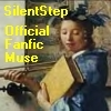 "silentstep: text ""SilentStep, Official Fanfic Muse"" over a Vermeer painting of the Muse of History (Vermeer Blue Iris Muse)"