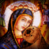 commodorified: a tile-mosaic style icon of the Blessed Virgin snuggling with an otter (Cabin Pressure, Ottery St Mary)
