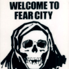 "outlineofash: A cowled skeleton underneath text that reads ""Welcome to Fear City."" (Text - Welcome to Fear)"