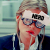 "orockthro: George with glasses and ""NERD"" written on her forehead (George + Nerd)"