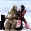 phosfate: Vince Noir sits next to a polar bear on a red leather sofa. In the tundra. Yes, really. (Boosh Tundra Polar Bear by buckshotwon)
