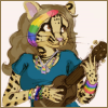 cranky_x_crocus: An anthropomorphic margay with long curling brown hair, rainbow hair-bangs and accessories, a blue shirt, and a ukulele. (Kiwi || Nalocia with ukulele.)