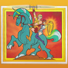 """eggplantlady: Galtar and Goleeta riding Thork, from promotional artwork for """"Galtar and the Golden Lance"""" (Galtar and Goleeta)"""