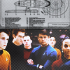 sloth: the cast of the new Star Trek movie with schematics for the Enterprise shown over their heads. (trek)