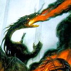 ancalagon: Black dragon breathing fire and destroying city (city in ruins, Gondolin burns)
