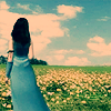 yati: Rinoa standing in a flower field, looking at the blue sky. (keep on searching)