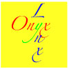 "onyxlynx: The words ""Onyx Lynx"" arranged so that one y is superimposed over the other. (Yellow background grafix)"