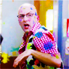 automaticdoor: dean pelton from community covered in paint (dean pelton paintball)