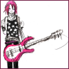 ext_80205: a pink haired girl holding a guitar with a broken string (have yourself a merry little)
