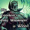 "odditycollector: Dramaticly lit Alan Scott in a heroic stance. Text reads: ""My Fandom's Only Weakness is Wood."" (Alan Scott)"