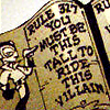 "odditycollector: Open book reading, ""Rule 327: You must be this tall to ride this villain."" (Guidebook of the DCU)"