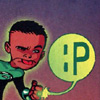 "odditycollector: A chibi version of John Stewart sticking out his tongue, while also using his Green Lantern ring to draw "":p"" in the air (John Stewart)"