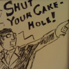 "zotmeister: Sean Neylon in a Phoenix Wright stance and suit, barking out ""SHUT YOUR CAKEHOLE!"" (cakehole)"