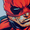pajaroenvuelo: deadpool's profile with his mask pulled to just above his nose (marvel { waaade })