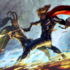supertights: An image of Thor and Loki battling each other. (Loki, Thor)