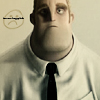 wistfuljane: mr. incredible in a shirt & tie looking blank with an unhappy smiley face in the background (blank)