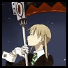 klgaffney: from the anime soul eater: a school age girl with ponytails holding her boldly patterned scythe. (a scythe is a girl's best friend)