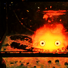 wistfuljane: calcifer (howl's moving castle) in his fireplace (feeling small)
