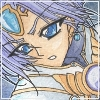 down: close up of Clef from Magic Knight Rayearth (older-looking) looking determined (Clef)